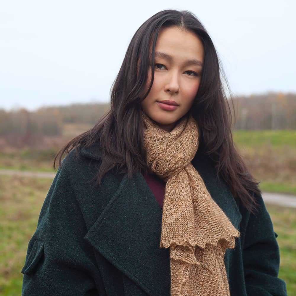 The Belton - Ladies Mohair Lace Scarf - Hazelnut