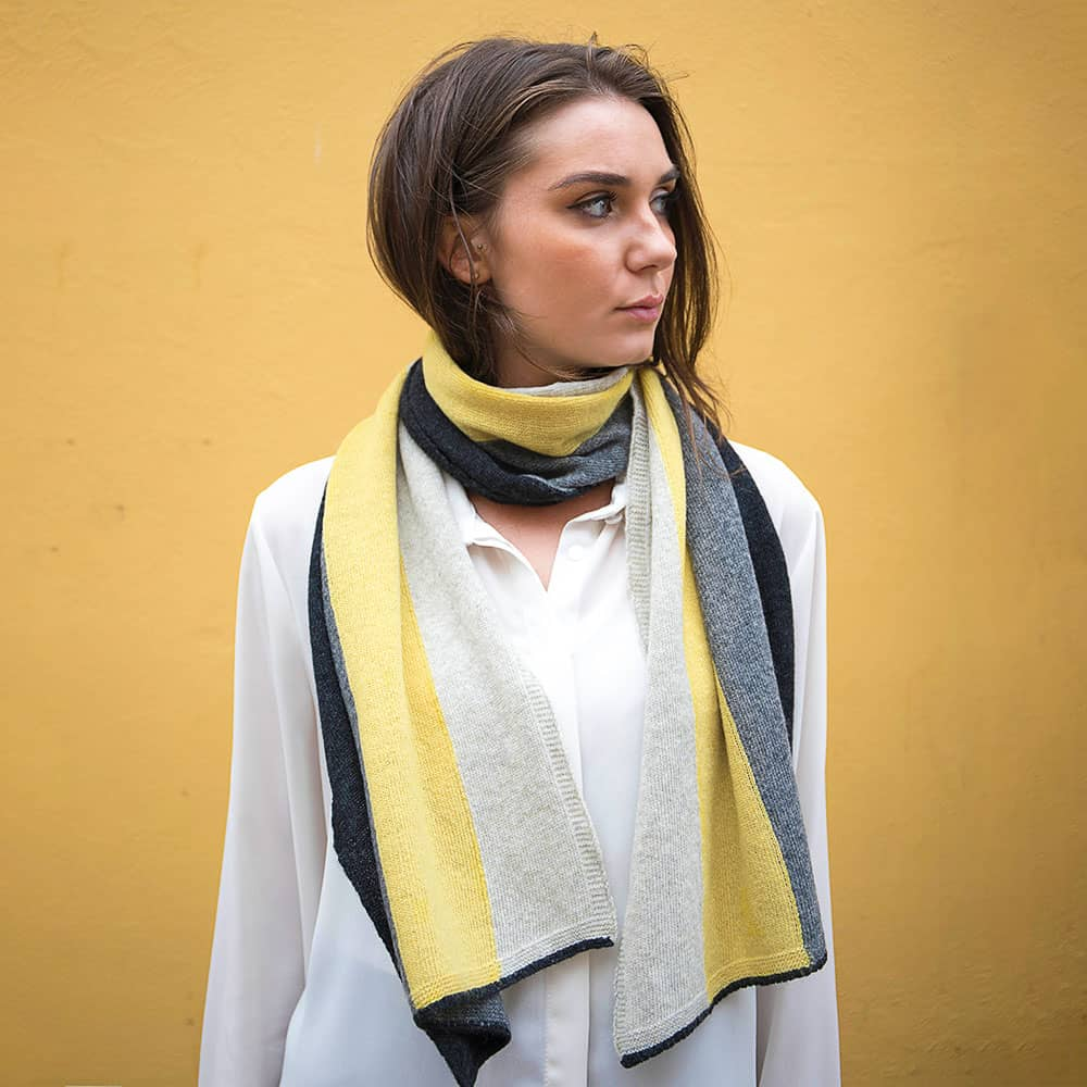 Lambswool Block Stripe Scarf - Brass