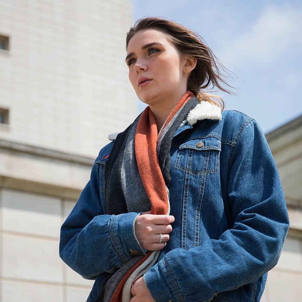 Lambswool Block Stripe Scarf Jeans Blue