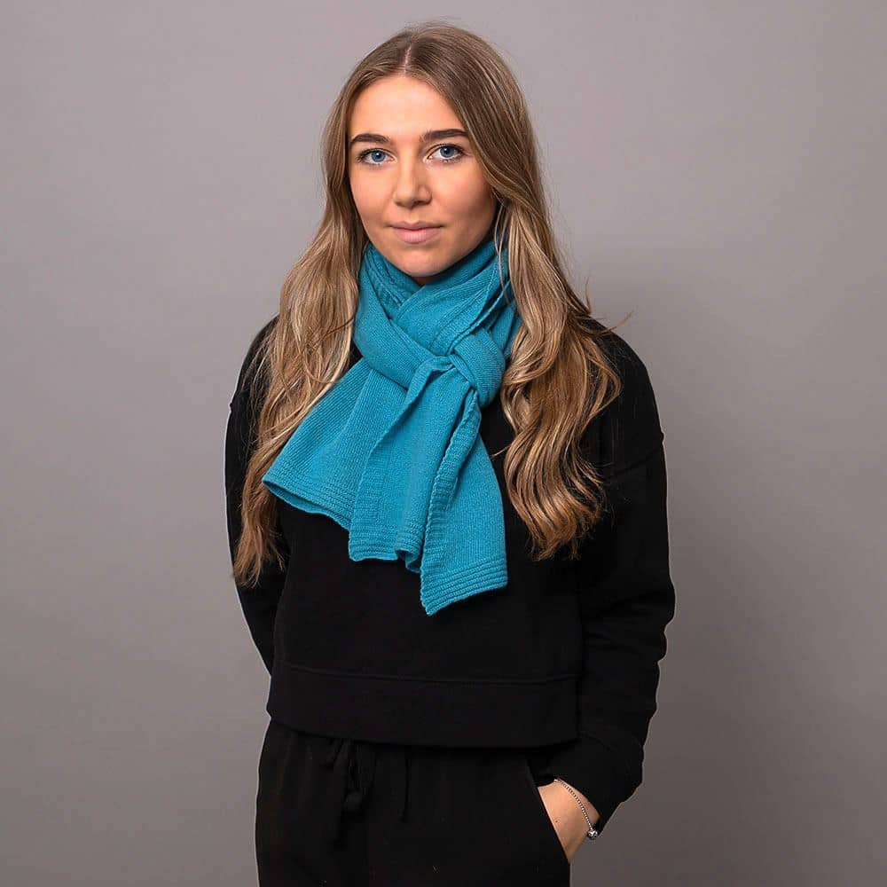 Ladies Barbados Blue Lambswool Plain Knit Scarf
