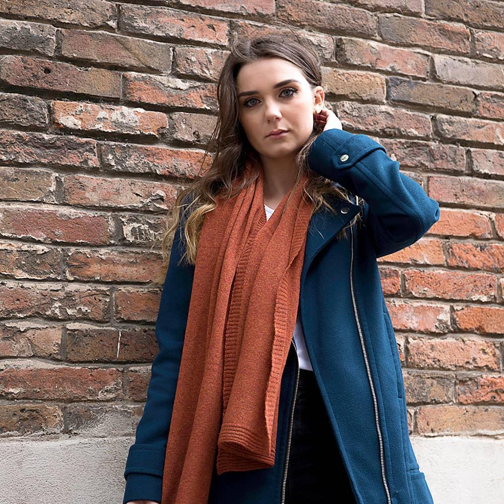 Ladies Lambswool Plain Knit Scarf - Burnt Orange