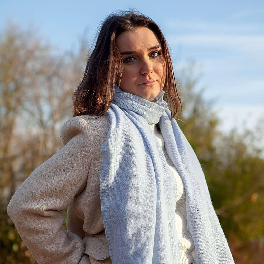 Ladies Lambswool Plain Knit Scarf - Mirage