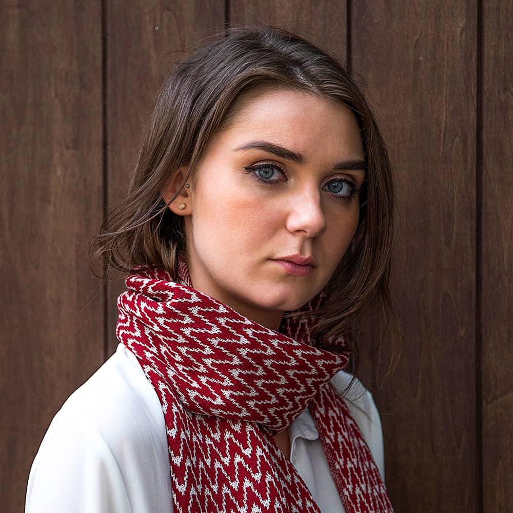 Ladies Zig Zag Wool Scarf - Burgundy