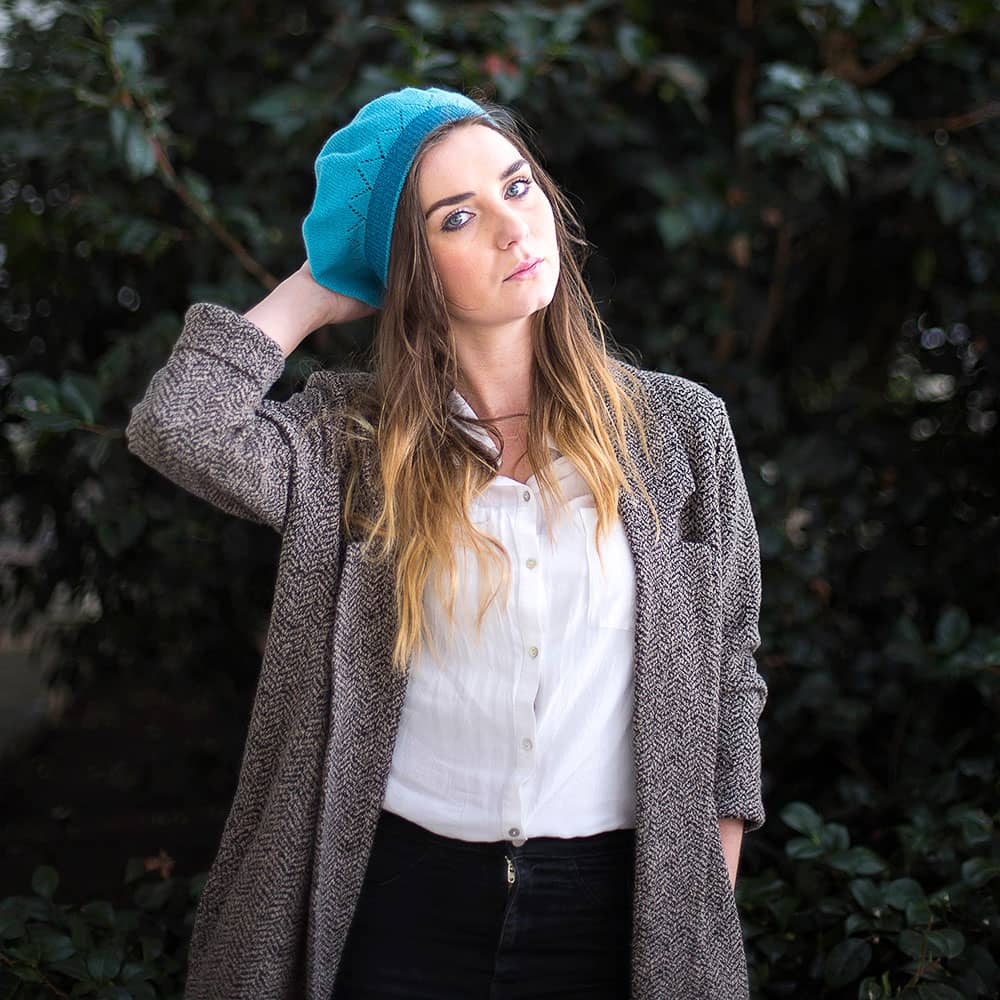 Lambswool Beret With Lace Detail