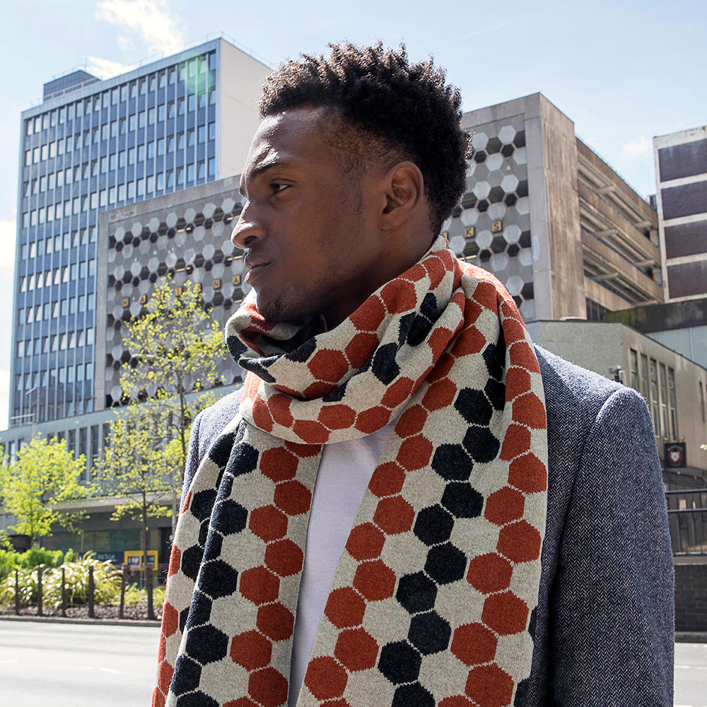 Burnt Orange Lambswool Hexagon Scarf