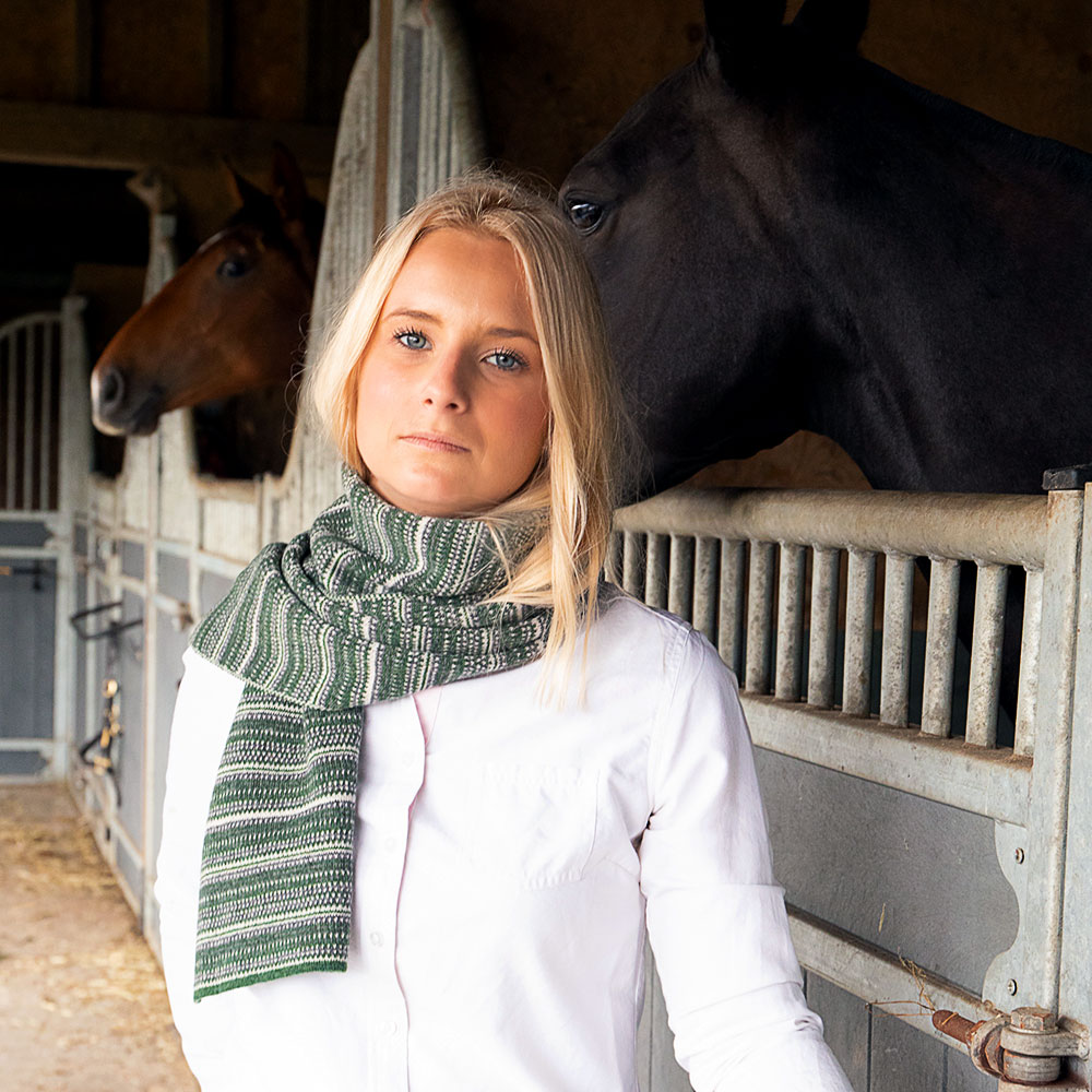 The Burghley Tweed Jacquard Scarf Moss
