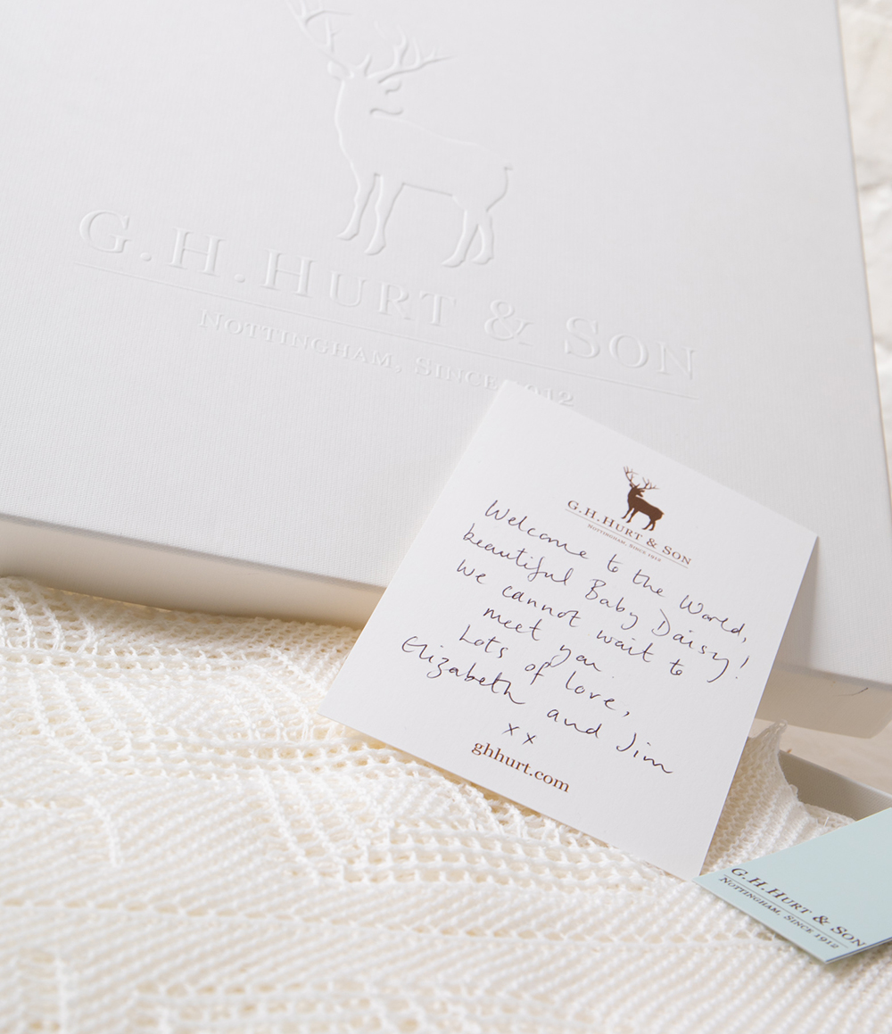 Hand written gift message with gift box - G.H.Hurt & Son baby shawl