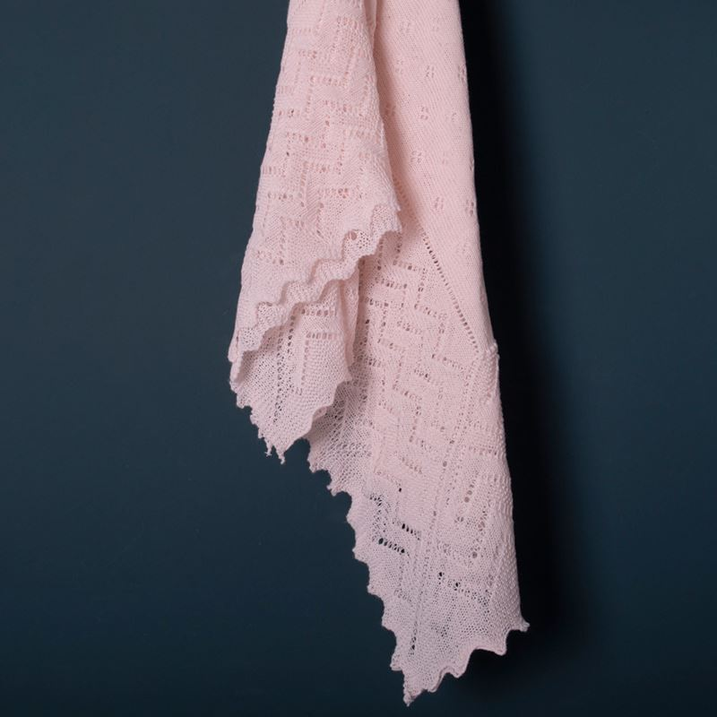 Pink Lacy Acrylic Receiving Shawl Flowing