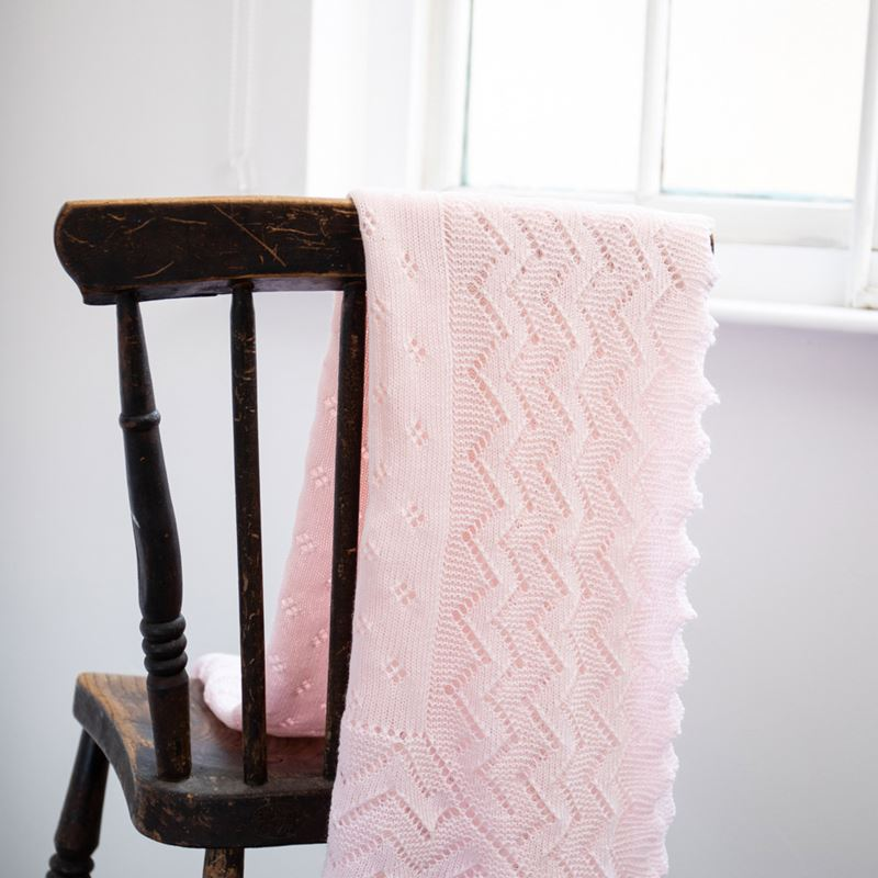 Folded Pink Lacy Acrylic Receiving Shawl