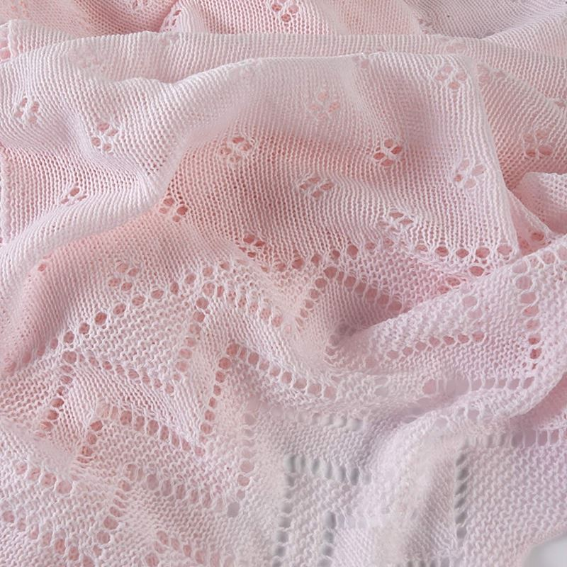 Pink close up lacy acrylic receiving shawl
