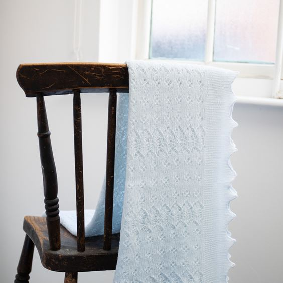 Soft Lacy Baby Shawl Blue Folded