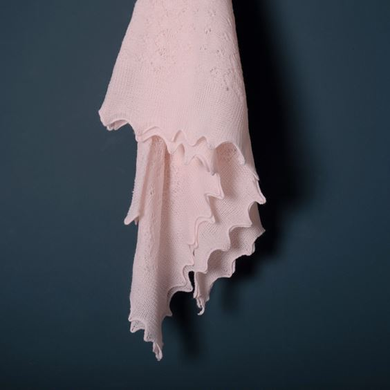 Soft Lacy Baby Shawl Pink Flowing