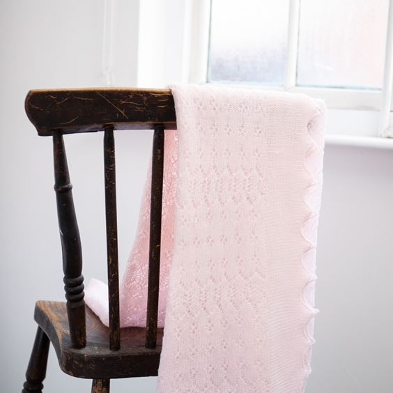 Soft Lacy Baby Shawl Pink Folded