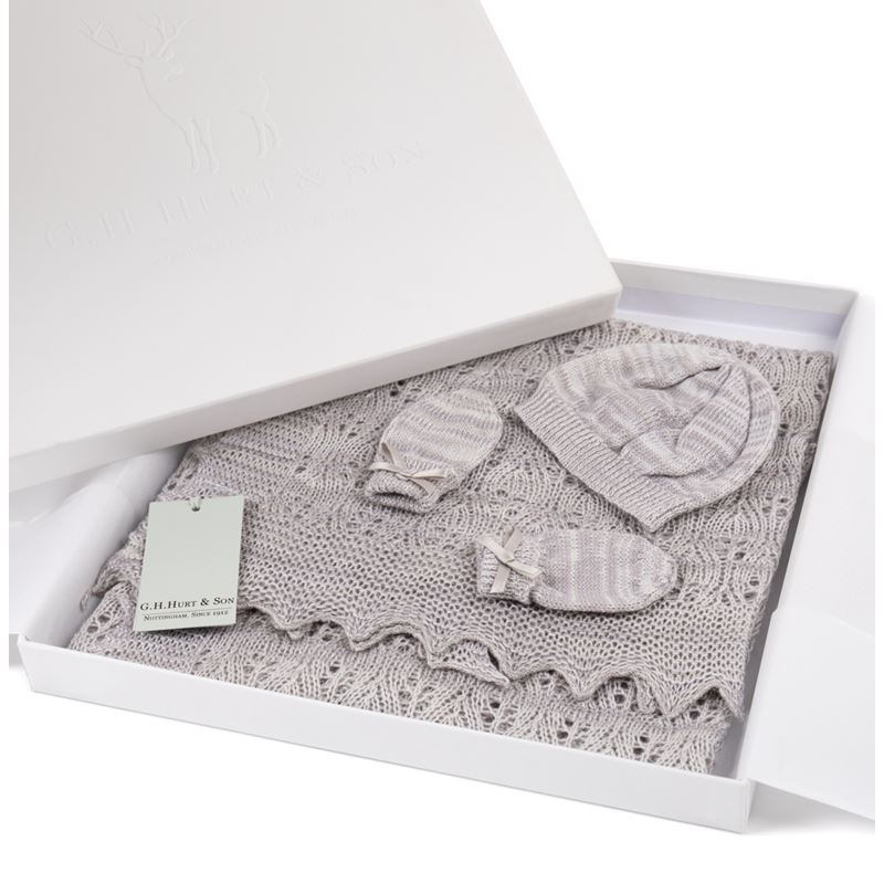 Gift Boxed Grey Kitten Paw Hat and mitten set