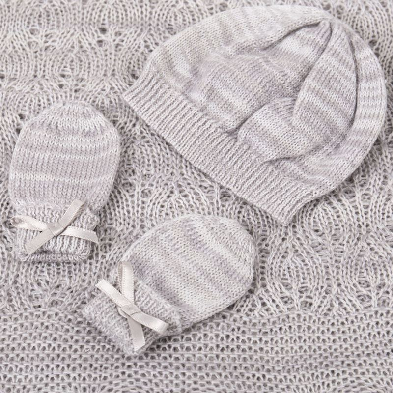 Hat and Mittens Grey Kitten Paw Gift set