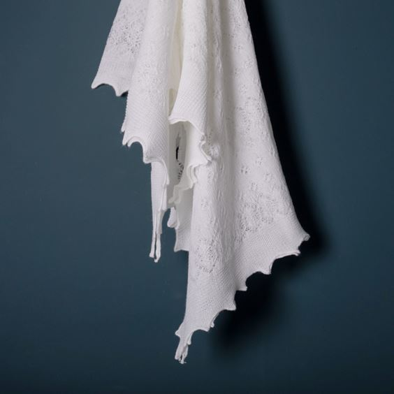 Soft Lacy Baby Shawl White Flowing