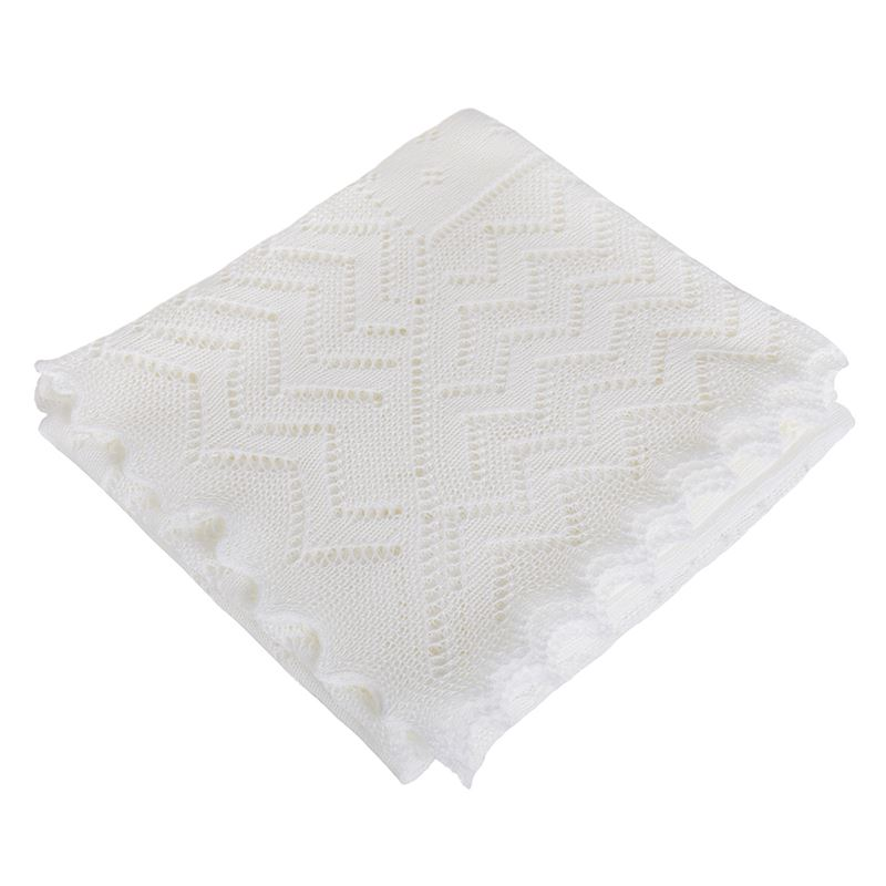Lacy acrylic Receiving shawl White