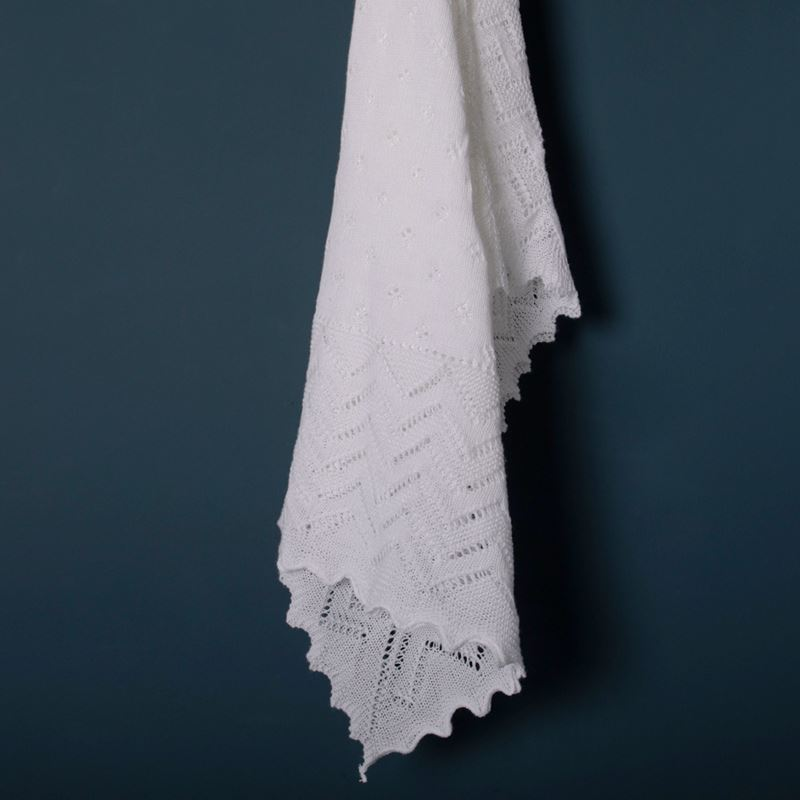 White Lacy Acrylic Receiving Shawl Flowing