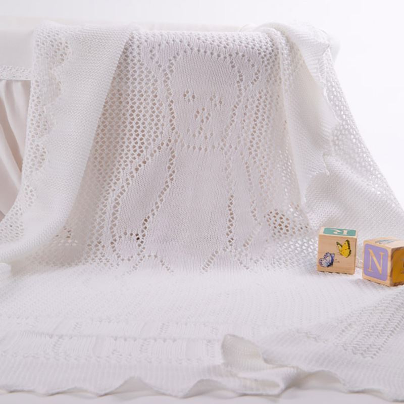 teddy alphabet white baby shawl pattern