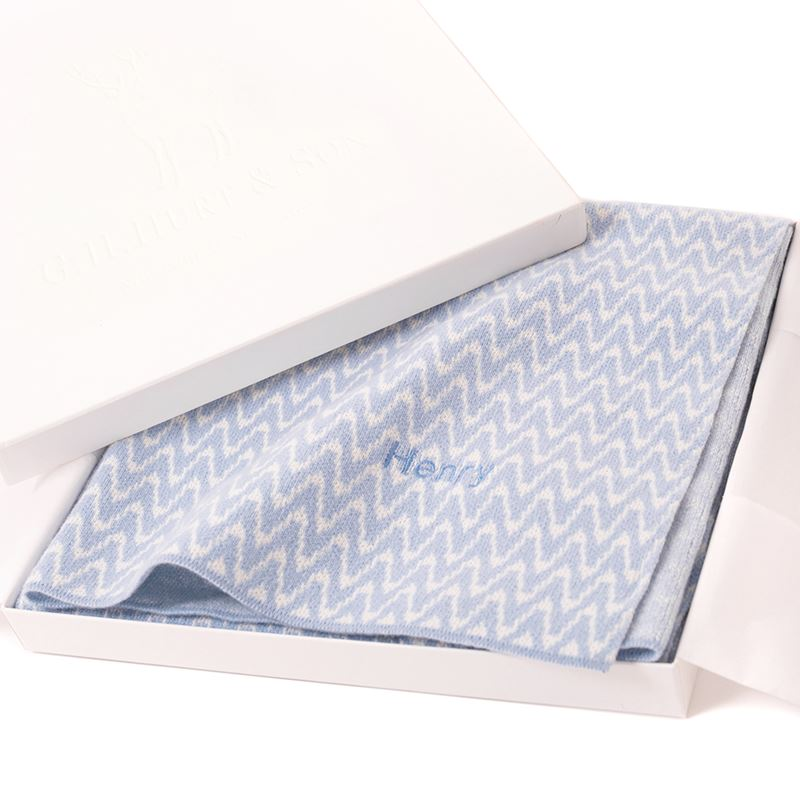 Cashmere baby blanket blue in gift box