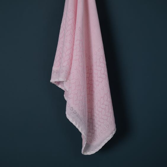 Pink Leaves and Flowers Baby Shawl flowing