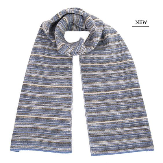 The Burghley - Tweed Jacquard Scarf - Jeans Blue