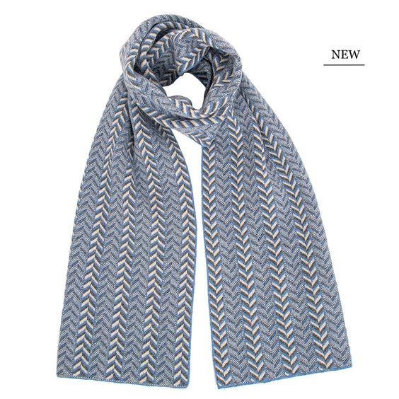 The Badminton - Geometric Chevron Scarf - Jeans Blue