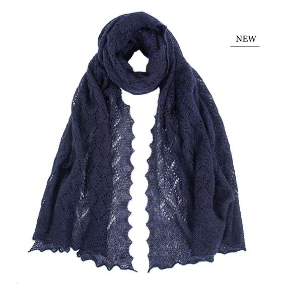 The Belton - Mohair Lace Scarf- Navy