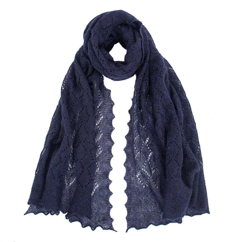 The Belton - Mohair Lace Scarf - Navy