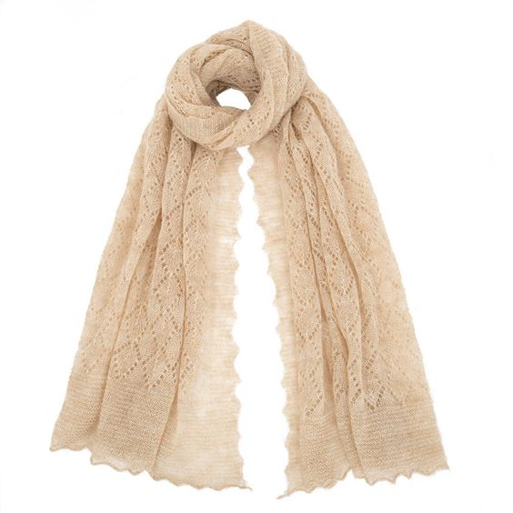 The Belton - Mohair Lace Scarf- Oatmeal