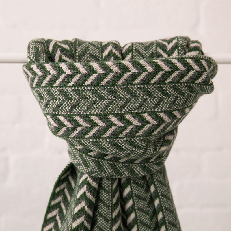The Badminton  - Geometric Chevron Scarf - Moss