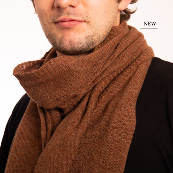 Hazelnut Lambswool Plain Knit Scarf