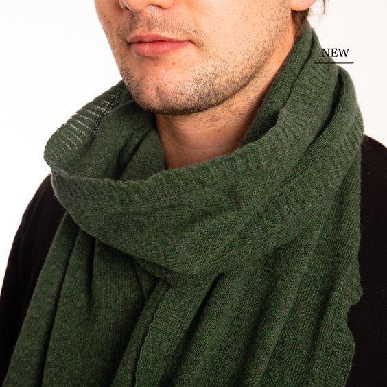 Moss Lambswool Plain Knit Scarf