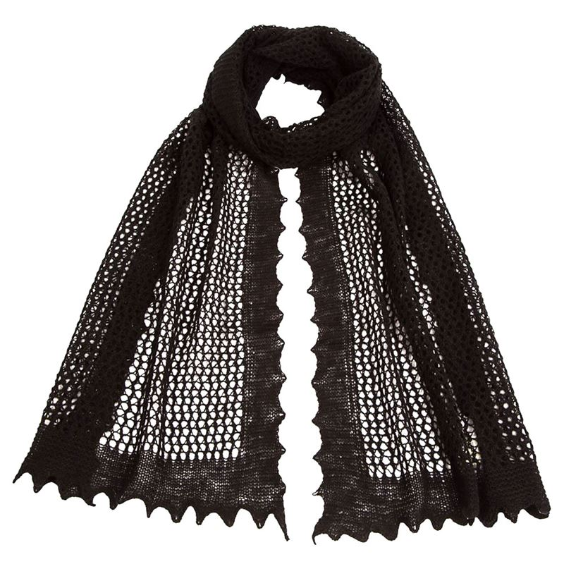 Softly Textured Honeycomb Scarf - Black