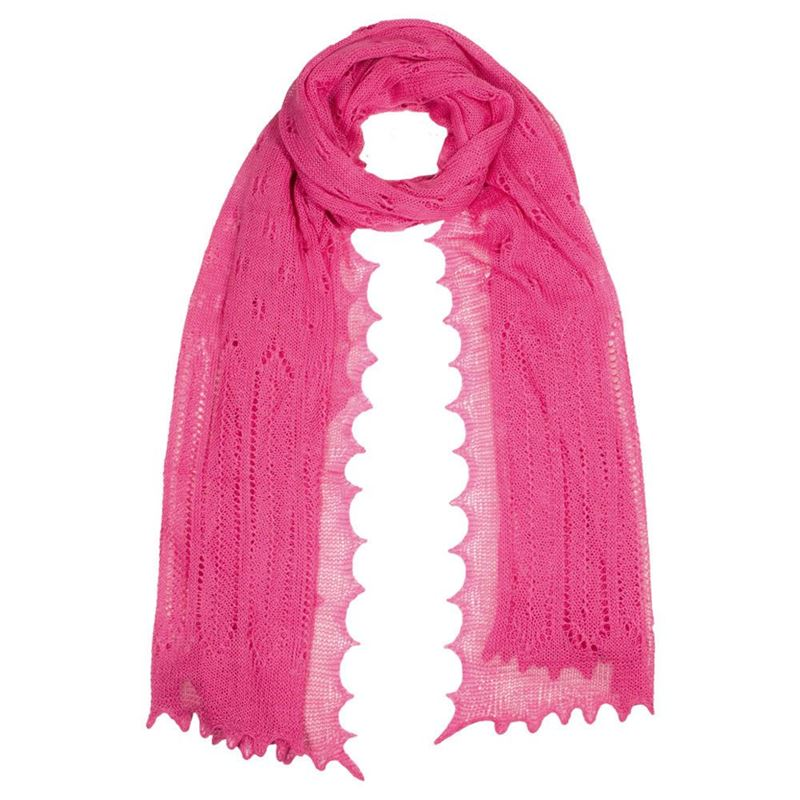 Women`s Cashmere and Silk Scarf - Bright Pink