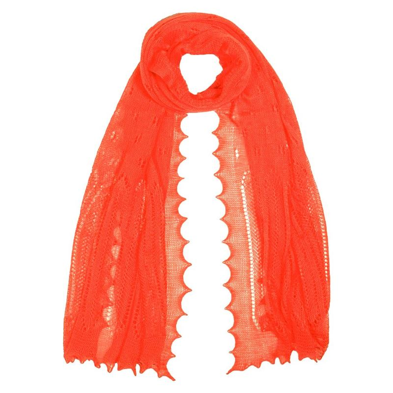 Women`s Cashmere and Silk Scarf - Orange