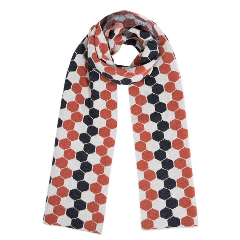 Ladies Lambswool Hexagon Scarf - Burnt Orange