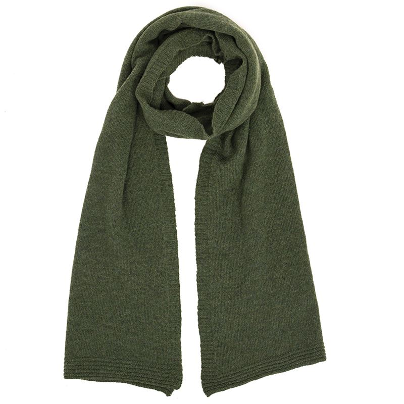 Ladies Lambswool Plain Knit Scarf - Moss