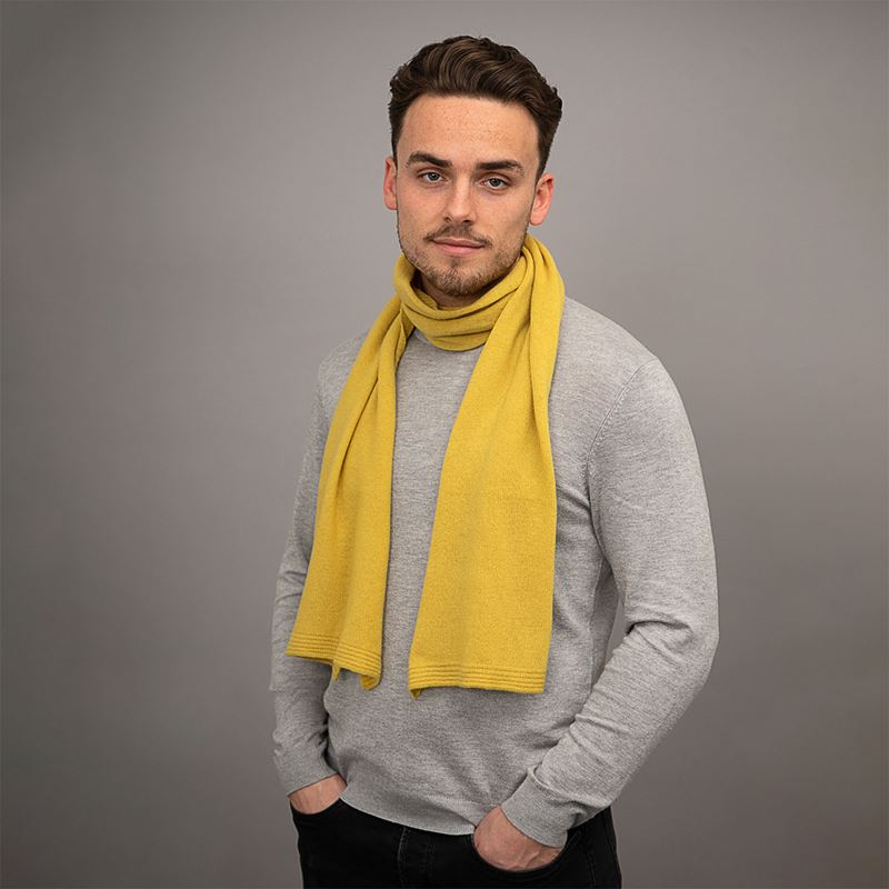 Lambswool Plain Knit Scarf - Brass