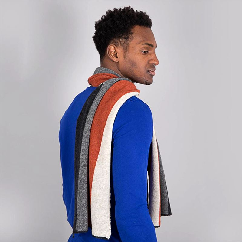 Lambswool Block Stripe Scarf - Burnt Orange
