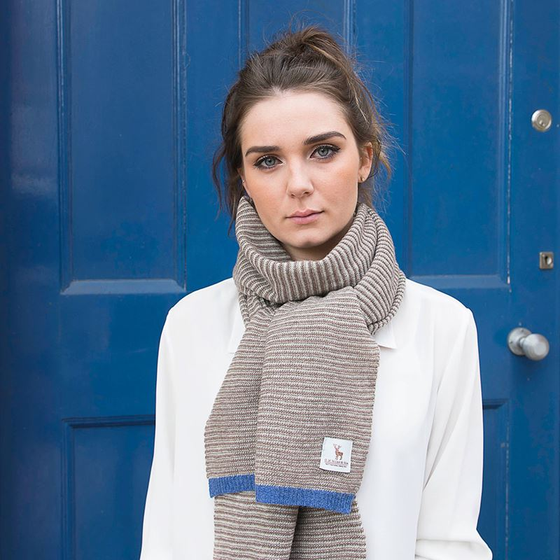 Ladies Lambswool Fine Stripe Scarf - Taupe