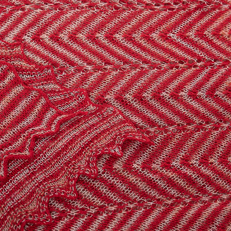 Chevron striped cotton mix scarf - Redcurrant