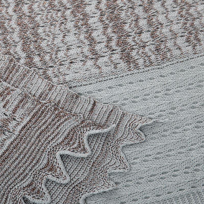 Linear Pattern Cotton Metallic Scarf - Dove/Bronze