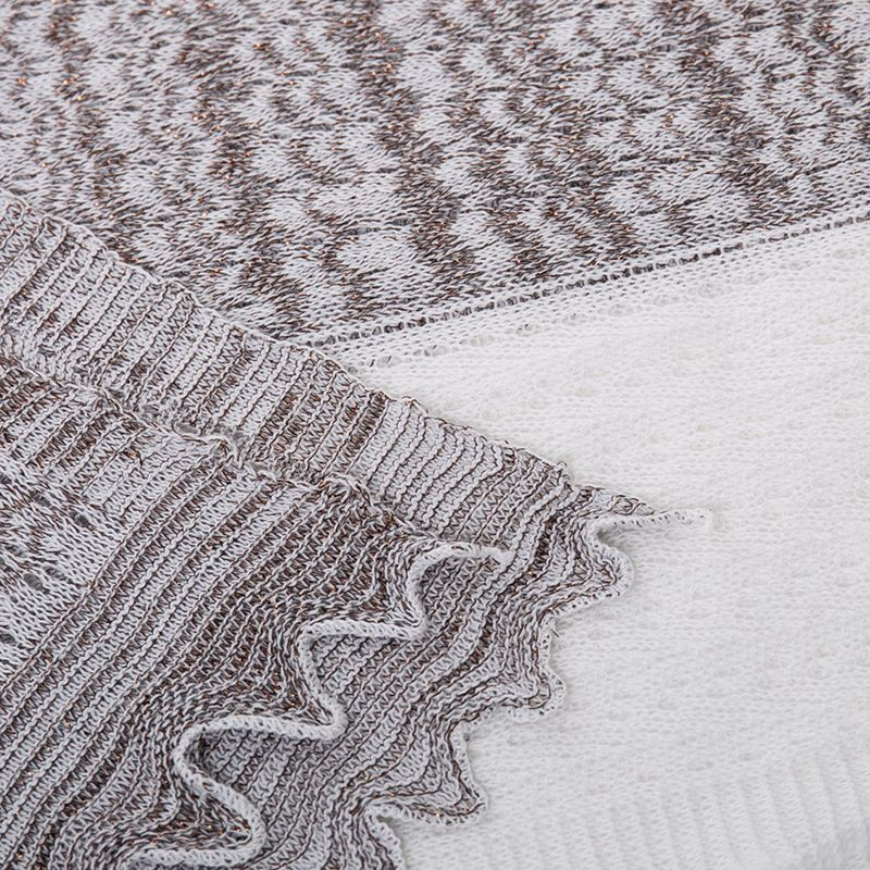Linear Pattern Cotton Metallic Scarf - White/Bronze