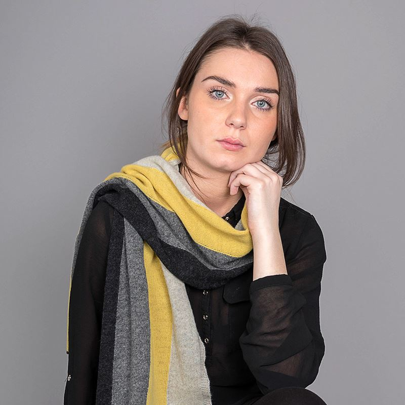Ladies Lambswool Block Stripe Scarf - Brass
