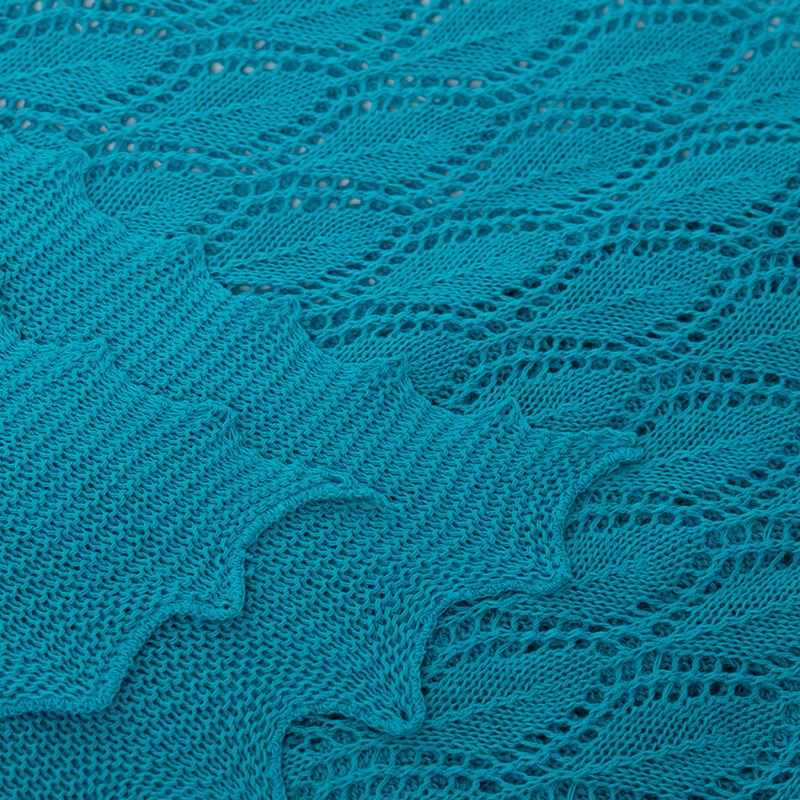 Cotton Lace Knit Scarf - Sea Green