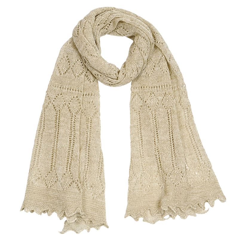 Pretty Wool Glitter Stole - Natural/Gold