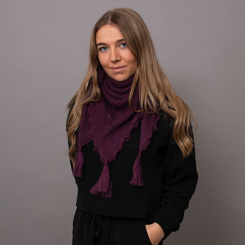 Soft and fluffy mohair and silk scarf with tassels - Aubergine
