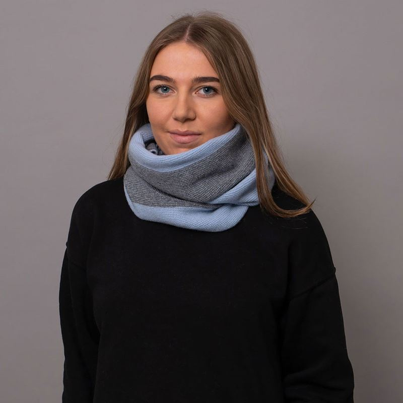 Lambswool Purl Knit Neck Warmer - Mirage / Grey