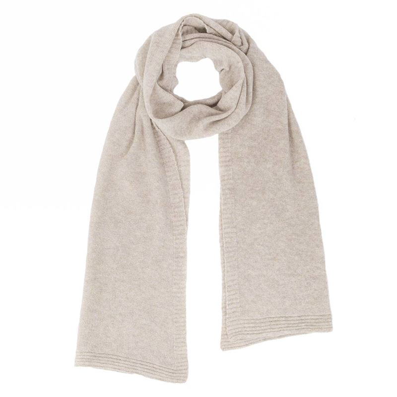 Ladies Lambswool Plain Knit Scarf - Swansdown